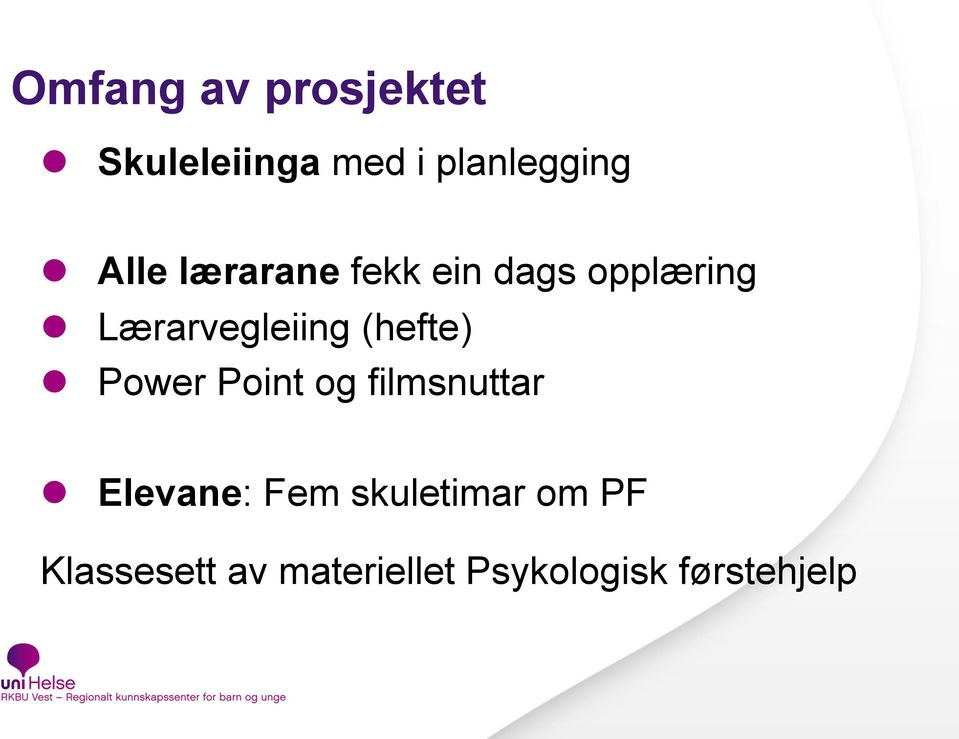 (hefte) Power Point og filmsnuttar Elevane: Fem