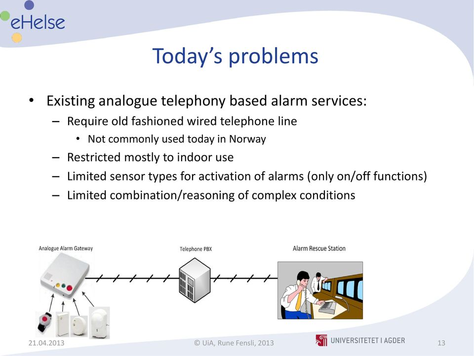 to indoor use Limited sensor types for activation of alarms (only on/off functions)