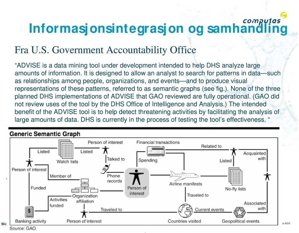 semantic graphs (see fig.). None of the three planned DHS implementations of ADVISE that GAO reviewed are fully operational.