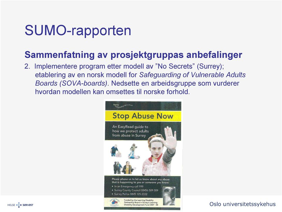 en norsk modell for Safeguarding of Vulnerable Adults Boards