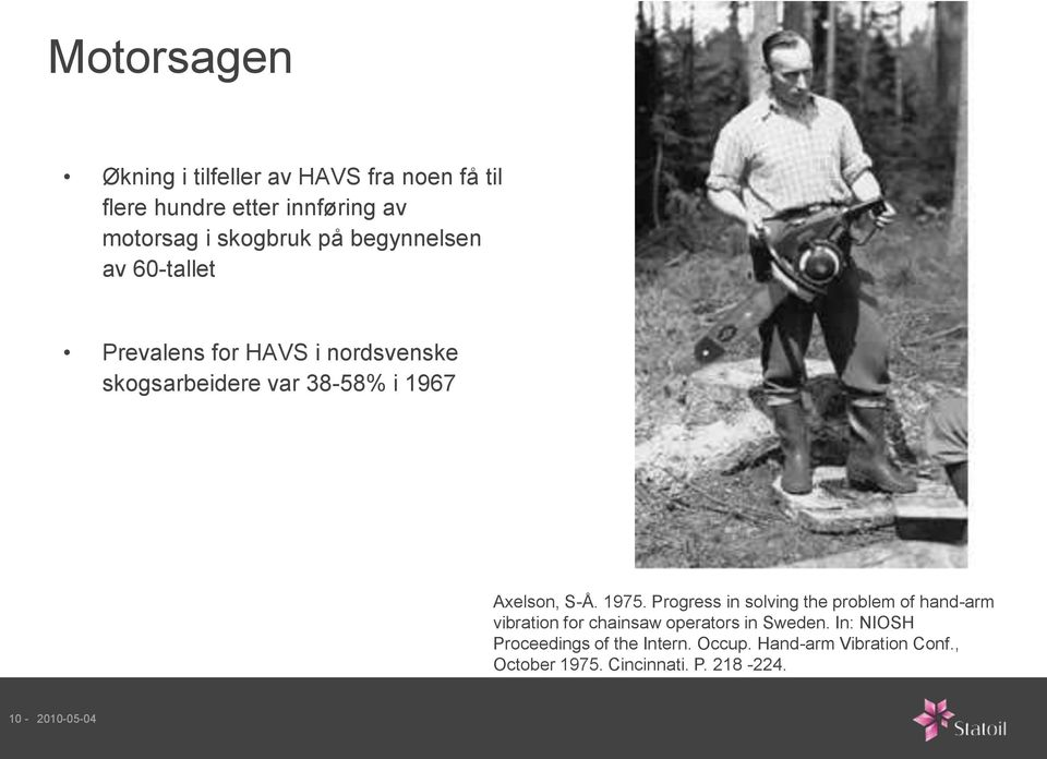 1975. Progress in solving the problem of hand-arm vibration for chainsaw operators in Sweden.