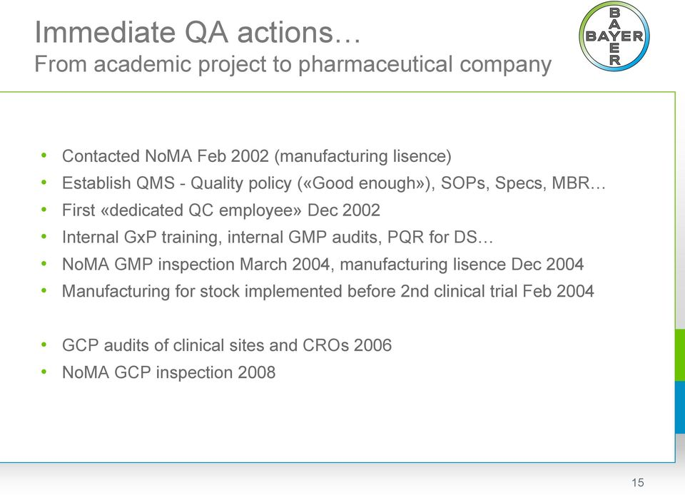 training, internal GMP audits, PQR for DS NoMA GMP inspection March 2004, manufacturing lisence Dec 2004 Manufacturing