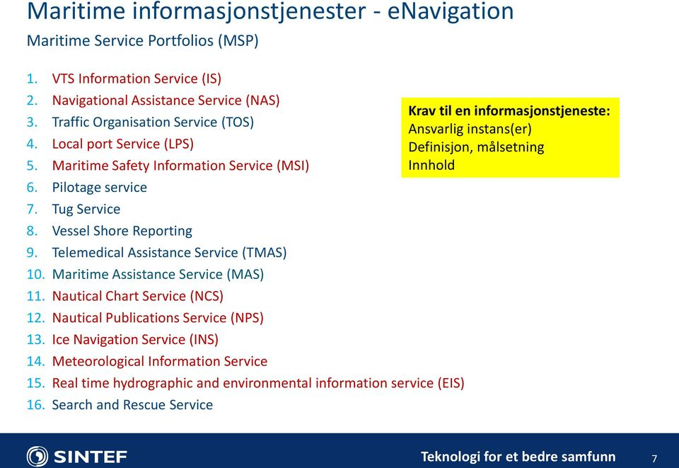 Telemedical Assistance Service (TMAS) 10. Maritime Assistance Service (MAS) 11. Nautical Chart Service (NCS) 12. Nautical Publications Service (NPS) 13. Ice Navigation Service (INS) 14.