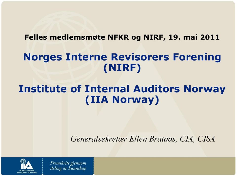 (NIRF) Institute of Internal Auditors Norway