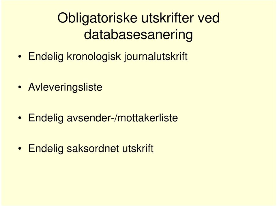 journalutskrift Avleveringsliste
