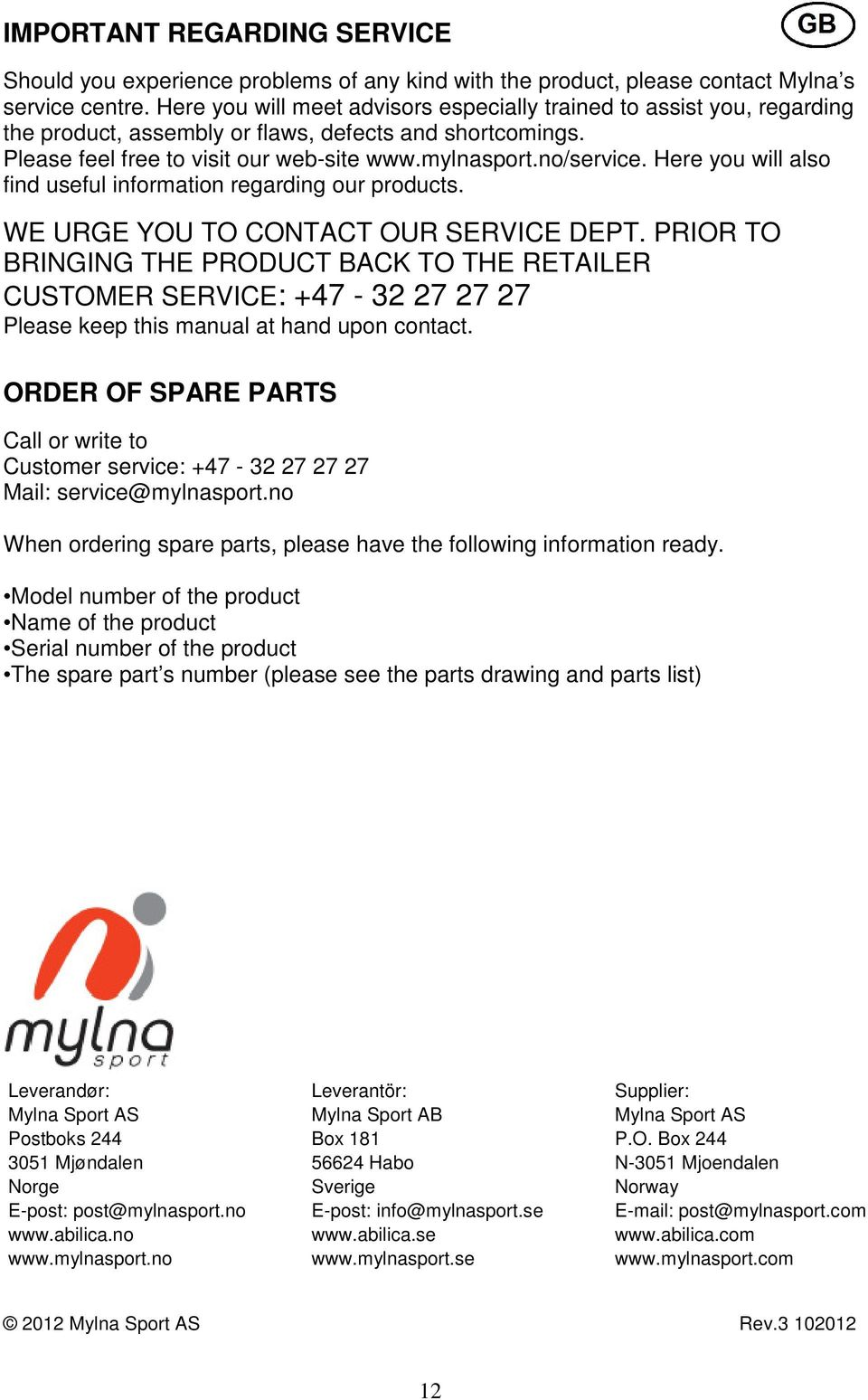 Here you will also find useful information regarding our products. WE URGE YOU TO CONTACT OUR SERVICE DEPT.