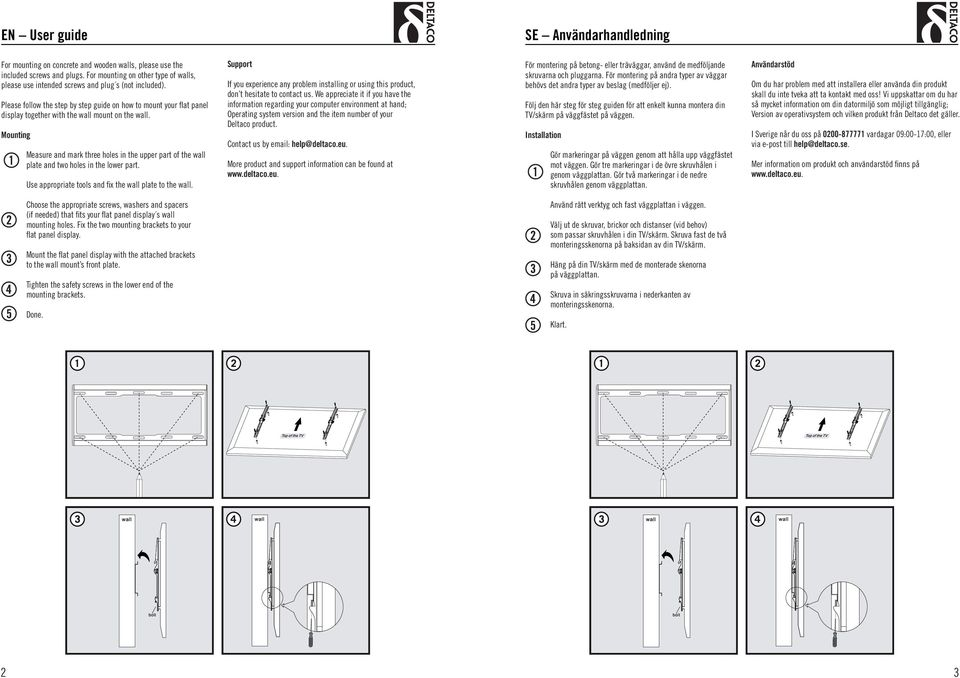 Please follow the step by step guide on how to mount your flat panel display together with the wall mount on the wall.
