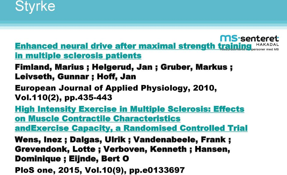 435-443 High Intensity Exercise in Multiple Sclerosis: Effects on Muscle Contractile Characteristics andexercise Capacity, a Randomised