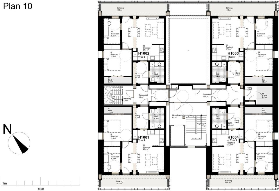 Rømning 3,5 m² areal areal 1 56 13,3 m² 5,4 m² 63,6 m² H10 Type 8 27,0 m² 10 x 21 Hovedtrapperom 9,9 m² 4,9 m² 4,9 m²