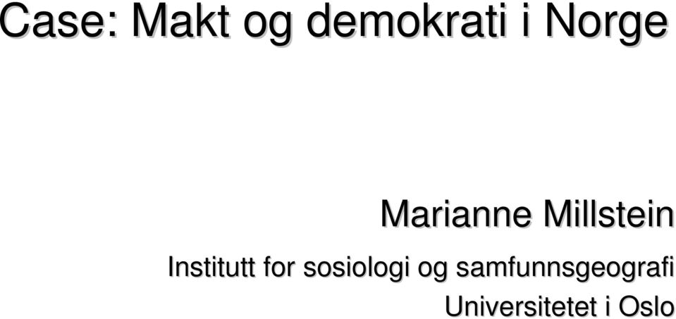 Institutt for sosiologi og