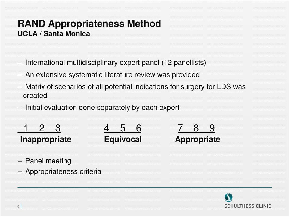 potential indications for surgery for LDS was created Initial evaluation done separately by each