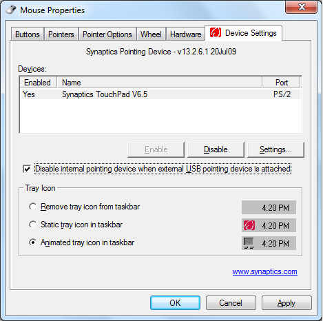 2. Klikk Device Settings (Enhetsinnstillinger) på toppen og klikk avmerkingsboksen Disable internal pointing device when external USB pointing device is