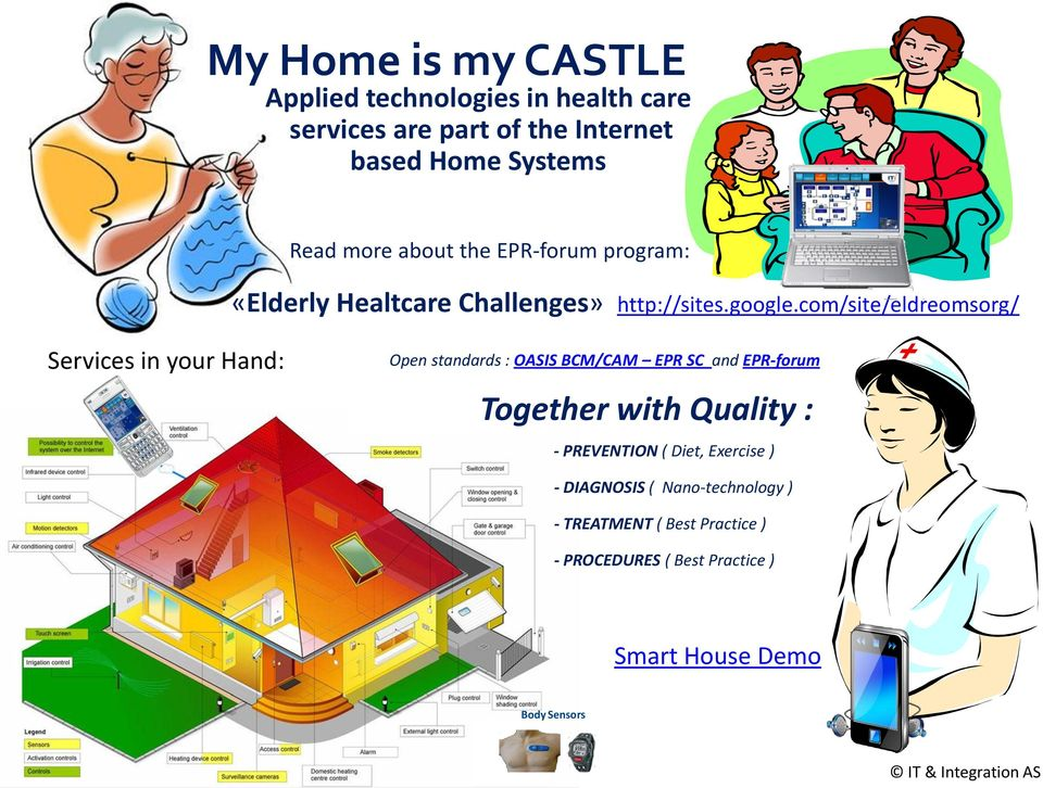 com/site/eldreomsorg/ Services in your Hand: Open standards : OASIS BCM/CAM EPR SC and EPR-forum Together with Quality