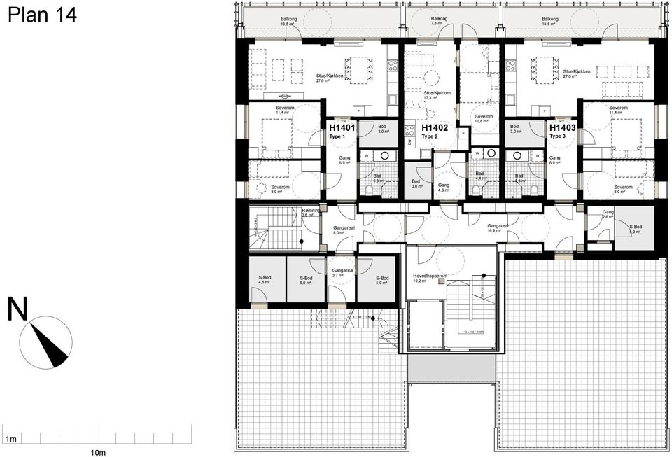 2,6 m² 10 x 21 4,8 m² areal 3,7 m² 9 x 183 = 1 649 5 Hovedtrapperom 10,2 m²