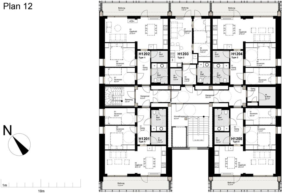 3,8 m² areal areal 16,9 m² 58 7,4 m² 64,3 m² H12 Type 4 5,2 m² 10 x 21 Hovedtrapperom 9,9 m² 12