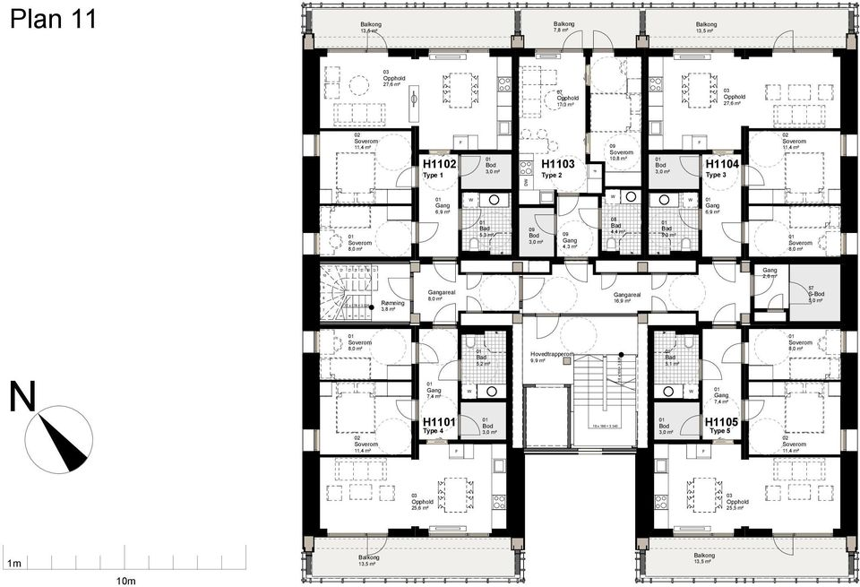 3,8 m² areal areal 16,9 m² 57 64,3 m² 7,4 m² H11 Type 4 5,2 m² 10 x 21 Hovedtrapperom 9,9 m² 12