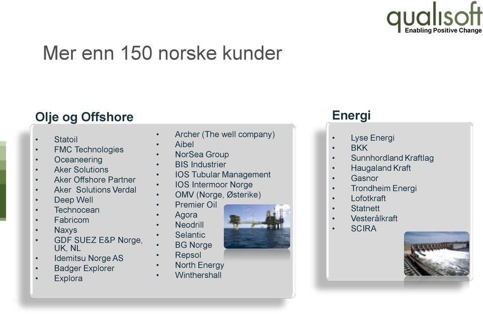 NorSea Group BIS Industrier IOS Tubular Management IOS Intermoor Norge OMV (Norge, Østerike) Premier Oil Agora Neodrill Selantic BG Norge