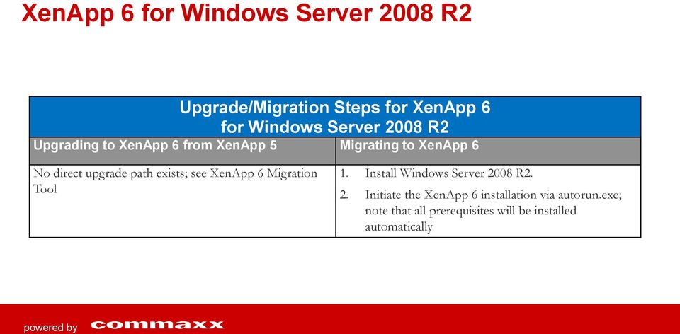 exists; see XenApp 6 Migration Tool 1. Install Windows Server 20