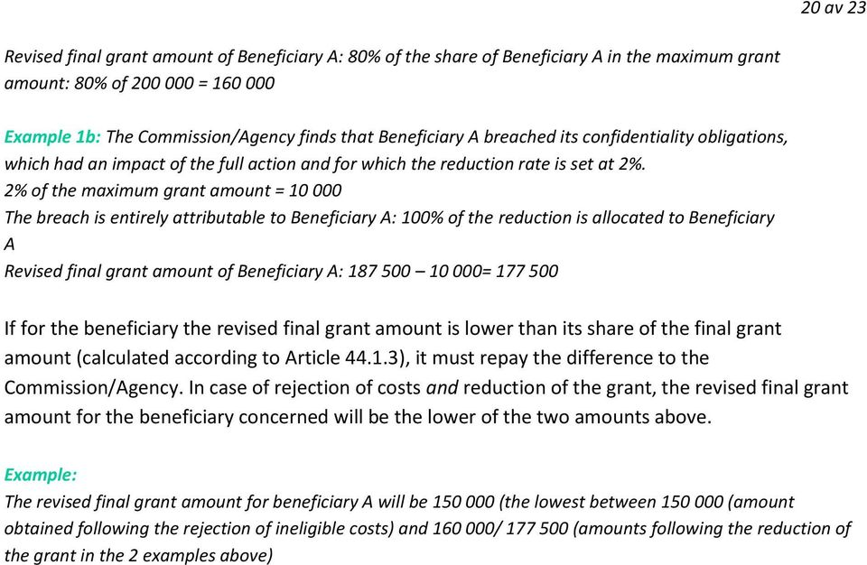 2% of the maximum grant amount = 10 000 The breach is entirely attributable to Beneficiary A: 100% of the reduction is allocated to Beneficiary A Revised final grant amount of Beneficiary A: 187 500