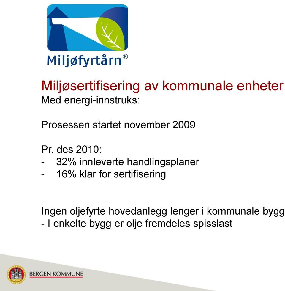 des 2010: - 32% innleverte handlingsplaner - 16% klar for