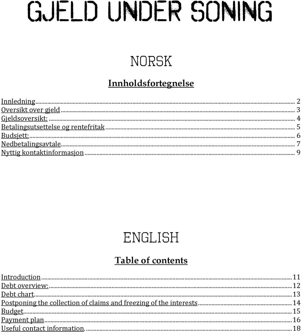 .. 7 Nyttig kontaktinformasjon... 9 ENGLISH Table of contents Introduction...11 Debt overview:.