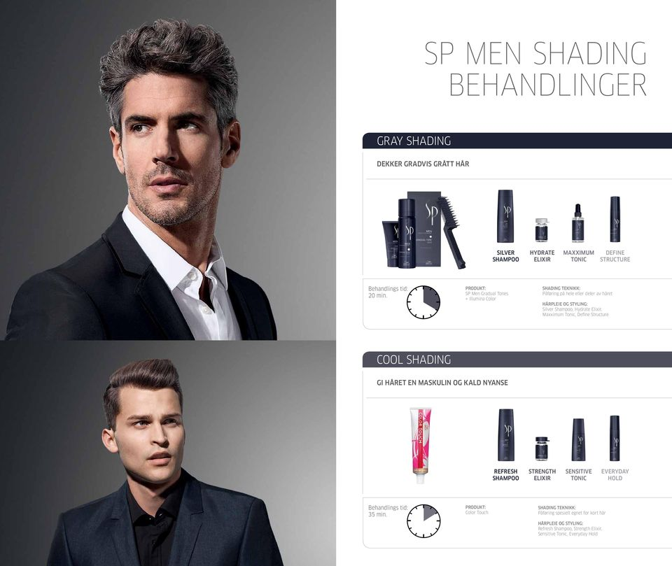 Define Structure Cool Shading Gi håret en maskulin og kald nyanse REFRESH SHAMPOO STRENGTH ELIXIR SENSITIVE TONIC EVERYDAY HOLD 35 min.