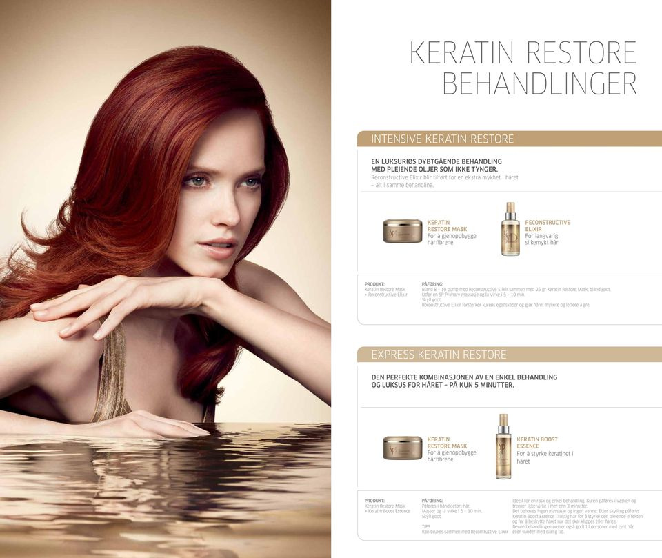 Restore Mask Step 2: seal with Keratin Boost Essence Keratin Restore Mask + Reconstructive Elixir Bland 8 10 pump med Reconstructive Elixir sammen med 25 gr Keratin Restore Mask, bland godt.
