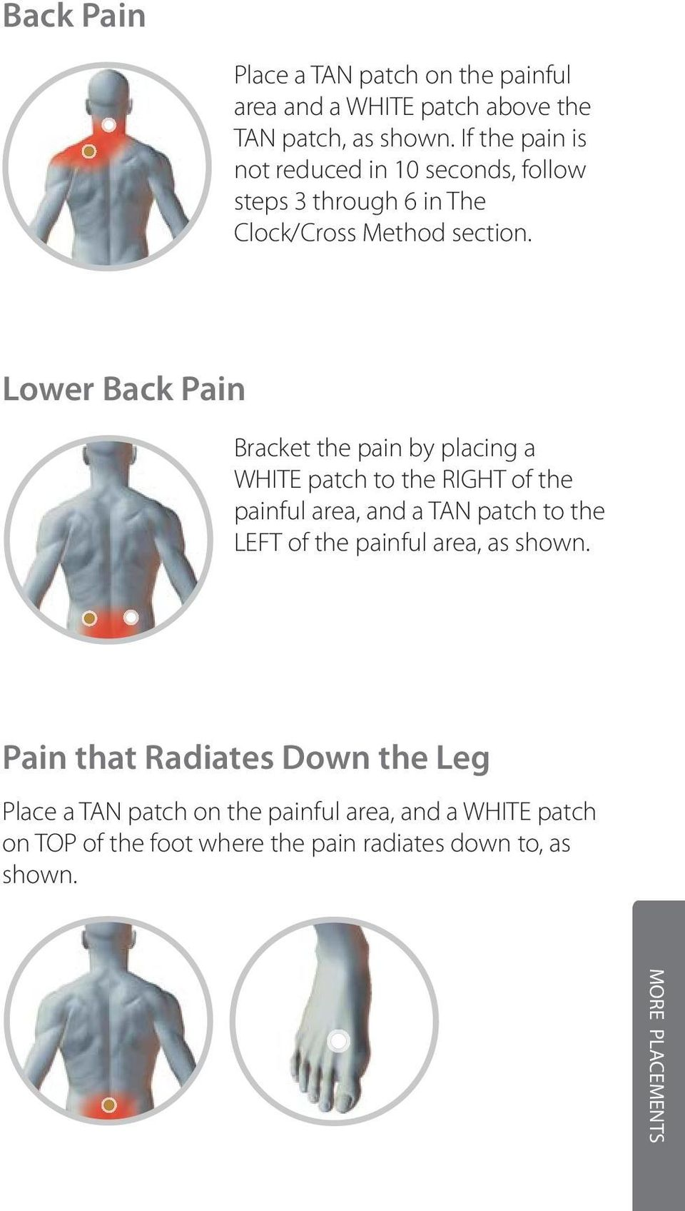 Lower Back Pain Bracket the pain by placing a WHITE patch to the RIGHT of the painful area, and a TAN patch to the LEFT of the