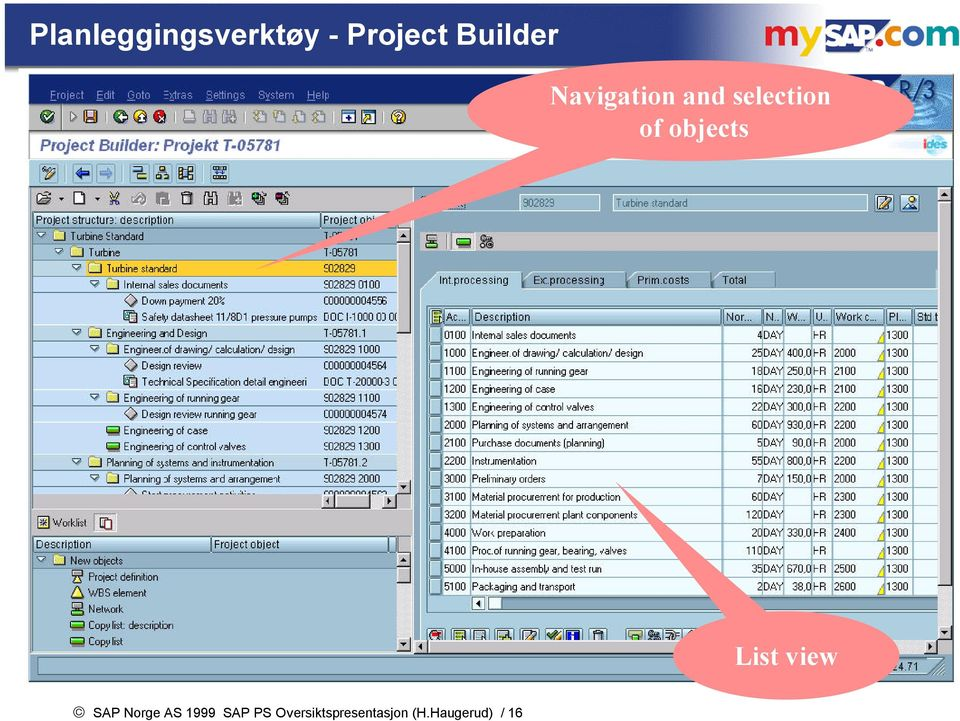 objects List view SAP Norge AS 1999