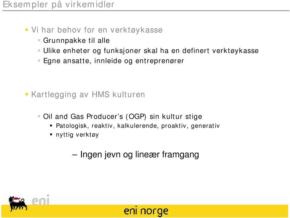 entreprenører Kartlegging av HMS kulturen Oil and Gas Producer s (OGP) sin kultur stige