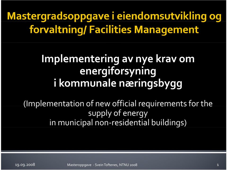 for the supply of energy in municipal non residential