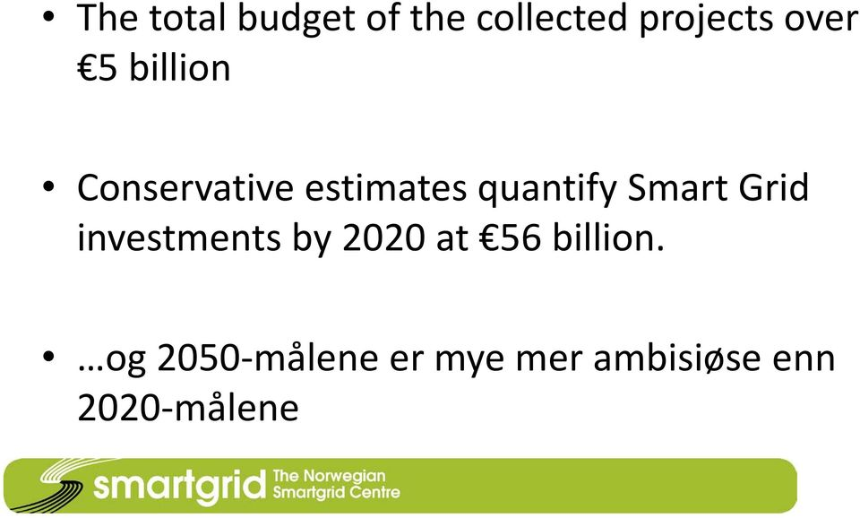 Smart Grid investments by 2020 at 56 billion.