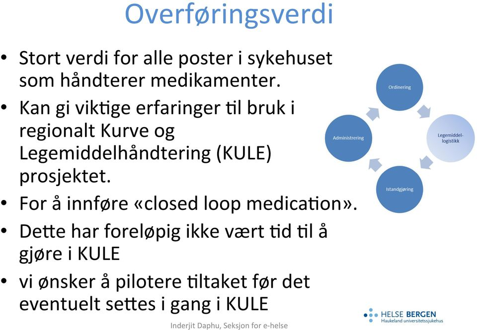 prosjektet. For å innføre «closed loop medica6on».