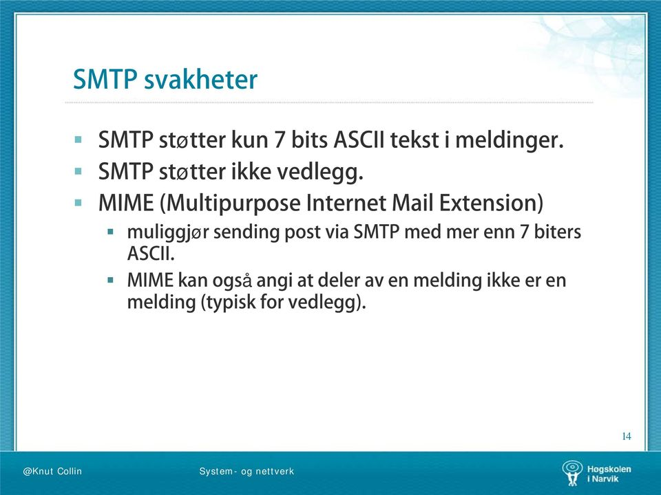MIME (Multipurpose Internet Mail Extension) muliggjør sending post