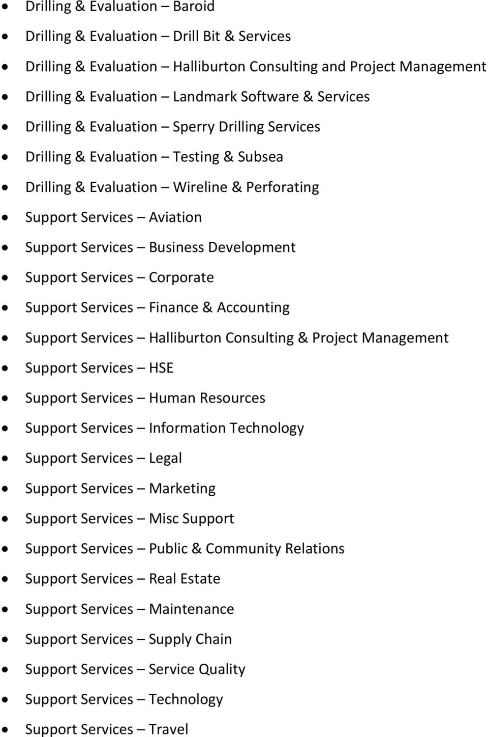 Services Corporate Support Services Finance & Accounting Support Services Halliburton Consulting & Project Management Support Services HSE Support Services Human Resources Support Services