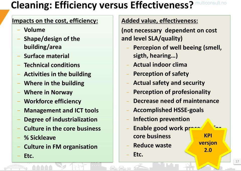 Workforce efficiency - Management and ICT tools - Degree of industrialization - Culture in the core business - % Sickleave - Culture in FM organisation - Etc.