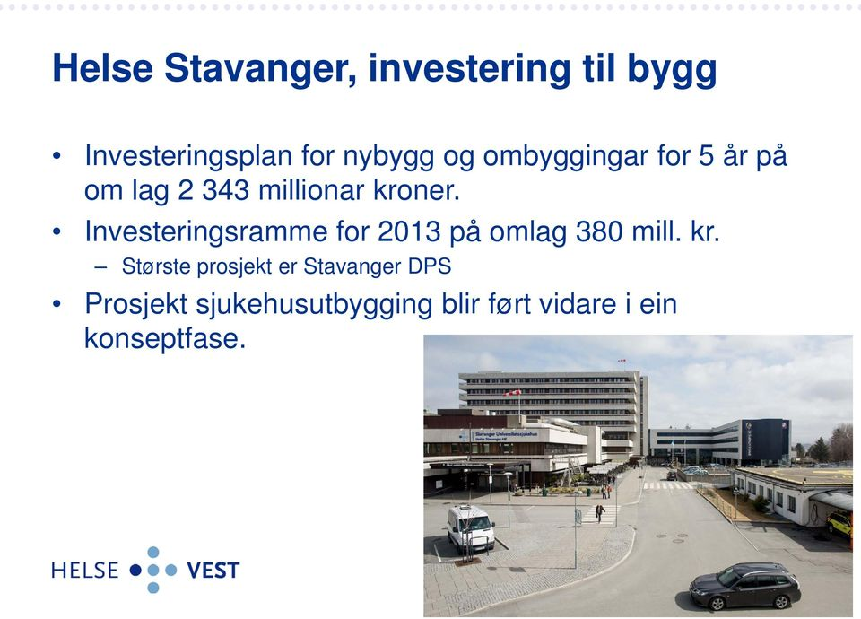 Investeringsramme for 2013 på omlag 380 mill. kr.