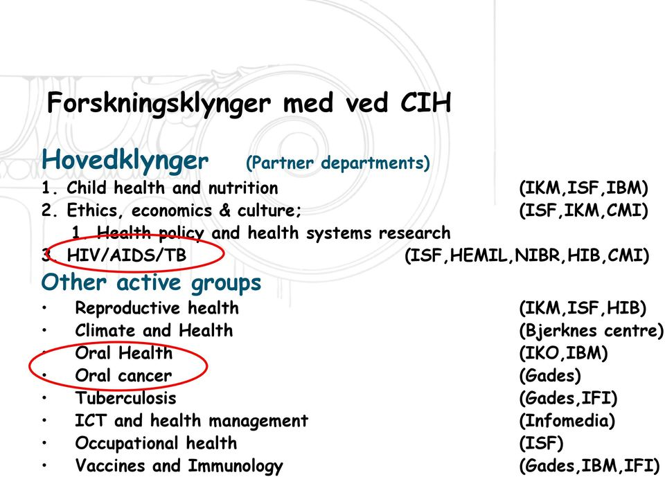HIV/AIDS/TB (ISF,HEMIL,NIBR,HIB,CMI) Other active groups Reproductive health (IKM,ISF,HIB) Climate and Health (Bjerknes
