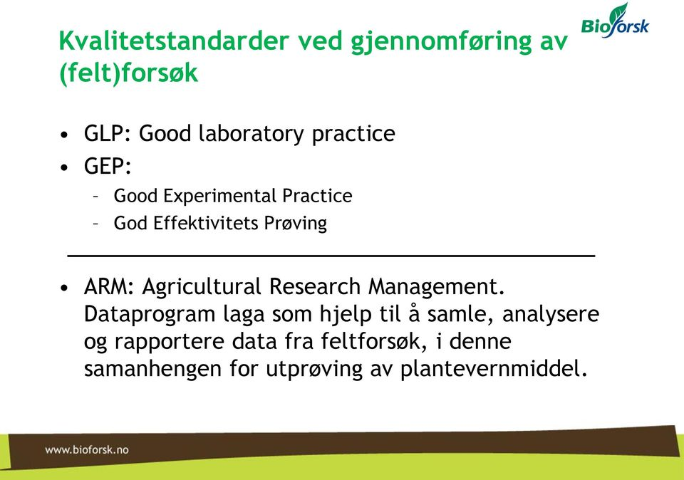 Agricultural Research Management.