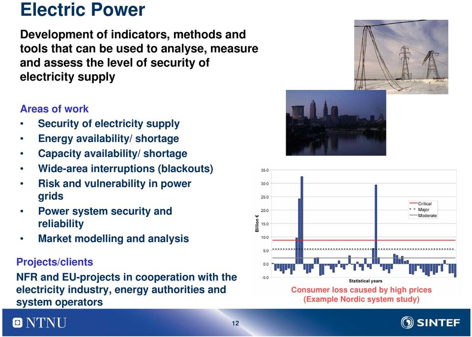 (blackouts) Risk and vulnerability in power grids Power system security and reliability Market modelling and analysis Projects/clients NFR and