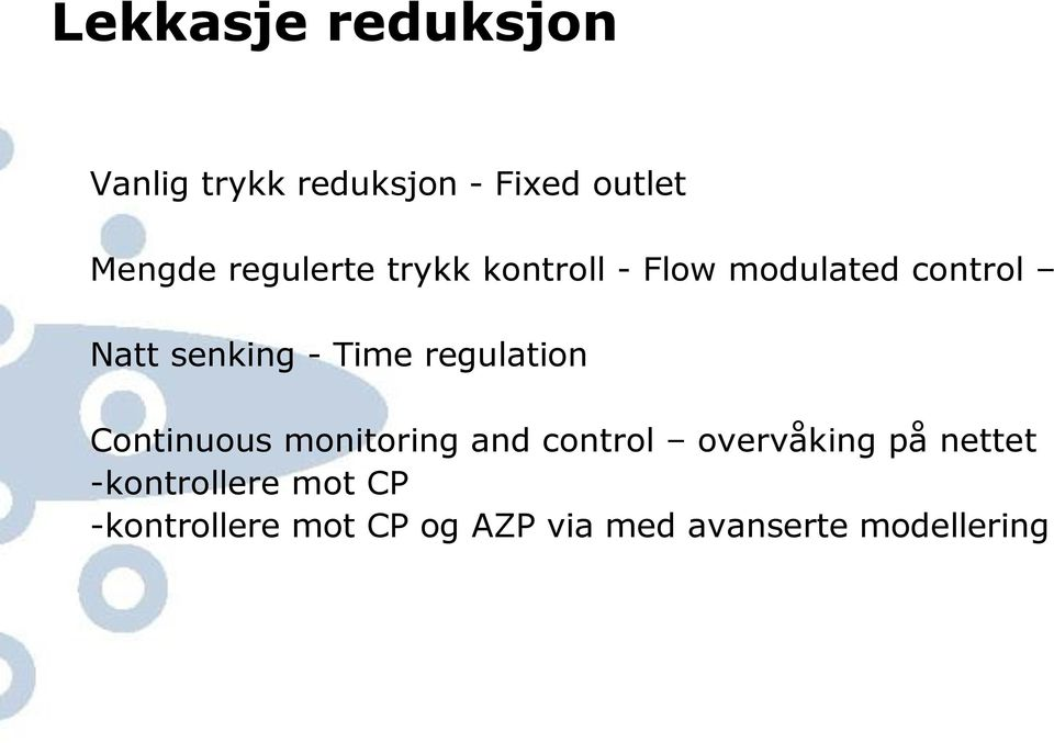 Time regulation Continuous monitoring and control overvåking på