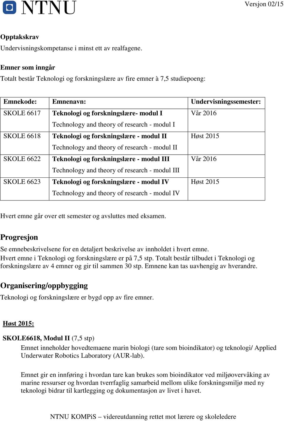 Technology and theory of research - modul I SKOLE 6618 Teknologi og forskningslære - modul II Høst 2015 Technology and theory of research - modul II SKOLE 6622 Teknologi og forskningslære - modul III
