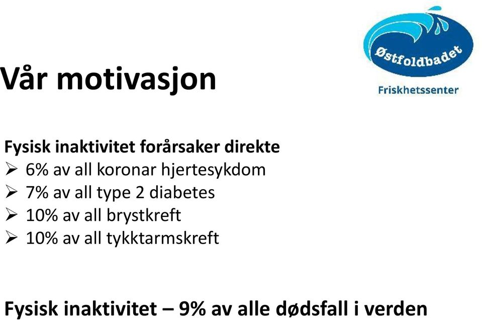 type 2 diabetes 10% av all brystkreft 10% av all