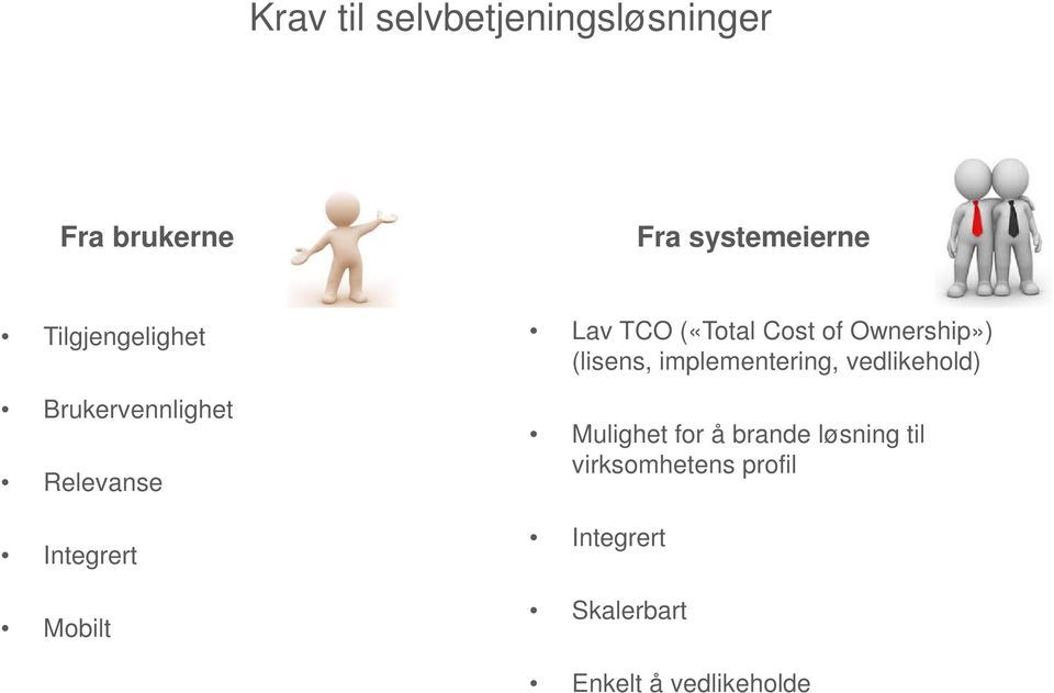 («Total Cost of Ownership») (lisens, implementering, vedlikehold)