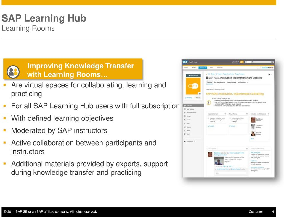 Moderated by SAP instructors Active collaboration between participants and instructors Additional materials provided by