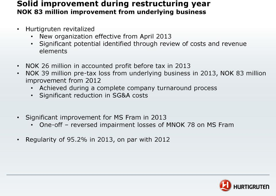 pre-tax loss from underlying business in 2013, NOK 83 million improvement from 2012 Achieved during a complete company turnaround process Significant