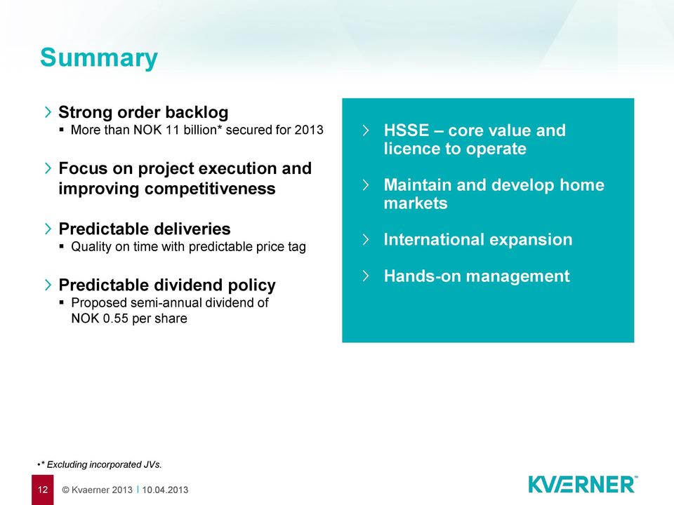 dividend policy Proposed semi-annual dividend of NOK 0.