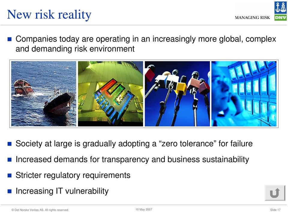 zero tolerance for failure Increased demands for transparency and business