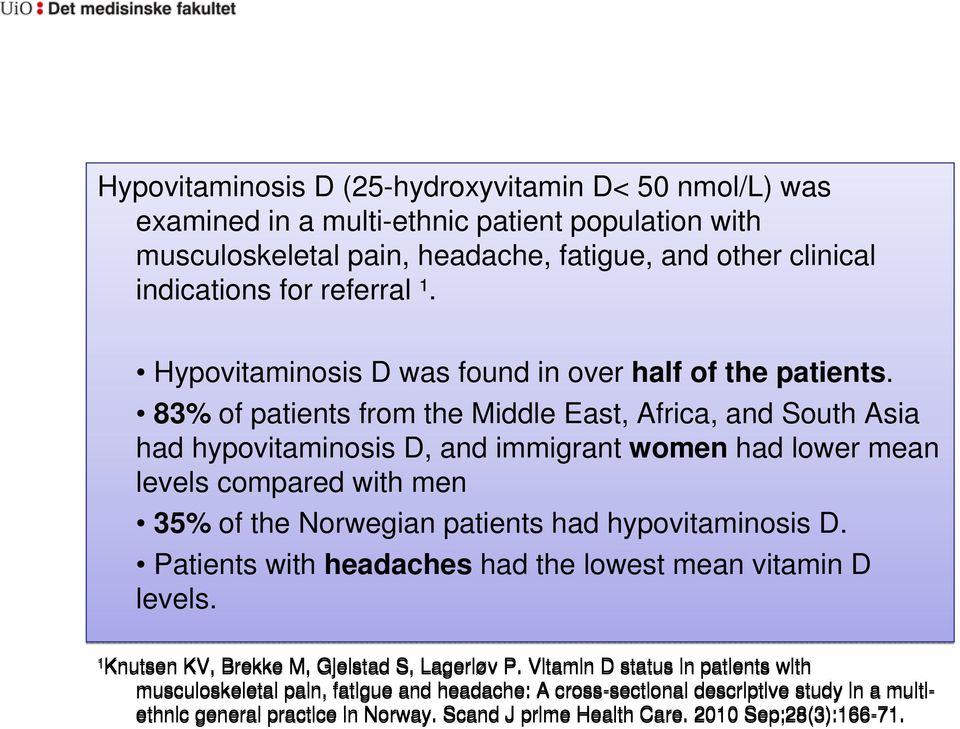 83% of patients from the Middle East, Africa, and South Asia had hypovitaminosis D, and immigrant women had lower mean levels compared with men 35% of the Norwegian patients had