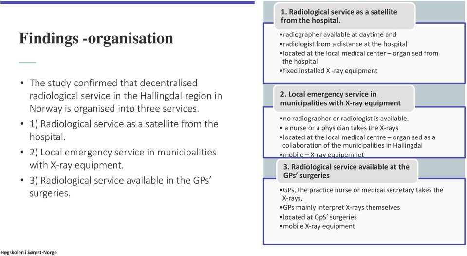 Radiological service as a satellite from the hospital.